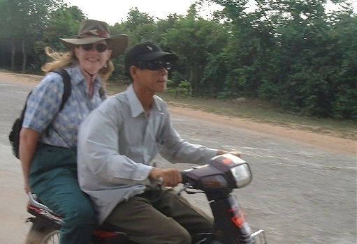 Karen and her driver, Naa, speeding along...