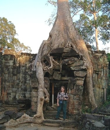 And Karen by another tree taking over the ruins, Preah Khan