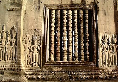 Window and bas-reliefs, Angkor Wat