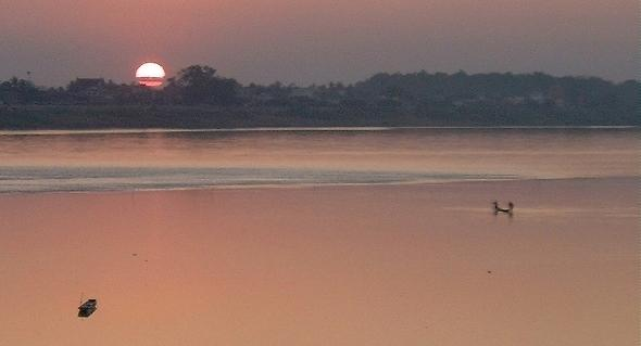 Sunset on the Mekong, at Vientiane