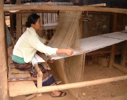 At the nearby village of Ban Phanom (only a few miles away), where weaving is the No. 1 export.
