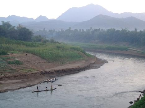 The Nam Khan River, nearing dusk, from Thanon Kingkitsalat (Kingkitsalat Street) in Luang Prabang