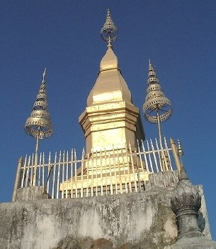 That Chomsi Stupa, atop Phu Si hill-temple