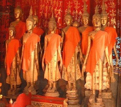 Some standing Buddhas (apparently quite an unusual sight), at Wat Xieng Thong--one of Luang Prabang's most famous temples.