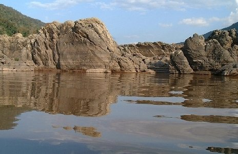 rocks and glassy water